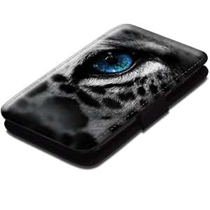 Wilde Tiere 10106, Leopard, Schwarz Leder Hülle Fall Ledertasche Handyschutzhülle Klappetui für Handy mit Magnetverschluss und Farbig Design für Samsung S4 i9500