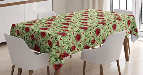Abakuhaus rose tovaglia, san valentino floral romance, personalizzata prova di colore lavabile adatta per l'uso esterno, 140 x 200 cm, pale green vermilion e fern green