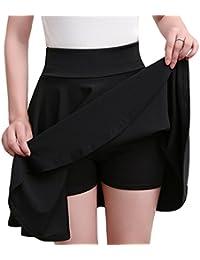 Grandes Tailles Jupe Plissée Patineuse Courte Femme Taille Haute d été Jupe  ... 8ae7ffdf091