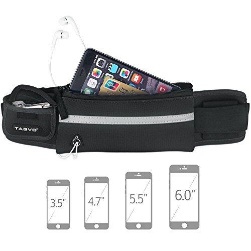Tagvo Jogging-Hüfttasche mit Gummiband geeignet für alle Frauen und Männer. Schweißbeständigkeit, Sport-Gürtel mit reflektierende Patch für Schlüssel, Karten, ID, Pass, iPhone 6, 6s, 7 Plus, Galaxie