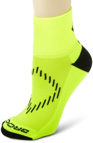 Brooks Nightlife Quarter Socke, RJ45 Pack Größe L Neon Yellow/Black (Brooks Socken Running)