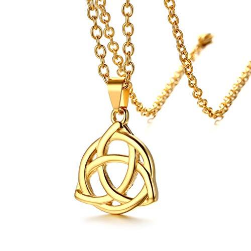 Hexiansheng Herren Halskette Herren Anhänger Titan Stahl Hohl Trinity Knot Anhänger senden Liebhaber und Freunde (Farbe : Gold)