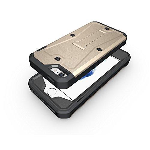 iPhone Case Cover IPhone 5 5S SE Case, 3 In 1 Nouveau Armure Tough Style hybride double couche d'armure Defender PC cas dur avec support cas d'antichoc pour IPhone 5 5S SE ( Color : Gray , Size : IPho Gold