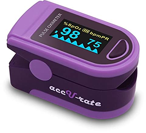 Acc U Rate Pro Series DELUXE CMS 500D Finger Pulse Oximeter Blood Oxygen Saturation Monitor with silicon cover, batteries and lanyard (Alluring Purple)