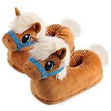 corimori (20+ designs) Pantofole Peluche Animali Donna Uomo Bambini, Taglia Unica 34-44, Pony, Marrone chiaro, 1847