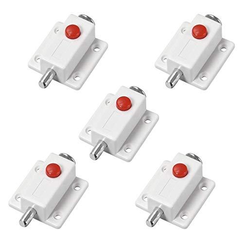 ZCHXD Door Bolt Lock, 2-inch Plastic Sliding Barrel Keyless Latch with Switch Button, 5 Pcs (White)