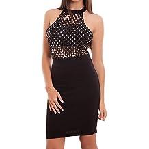 Toocool - Vestito donna abito tubino elasticizzato zip paillettes rete  coppe nuovo CJ-2384 79c51503798