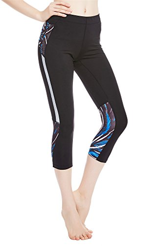 Capri Brown Bekleidung (Icyzone® Sport Leggings Damen 3/4 Fitness Sport tights yoga hose sporthose jogging (Plume, M))