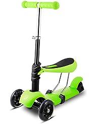 WeSkate 3-in-1/ 5-in-1 Kleinkinder Kinder Roller Scooter 3 Räder Mini Kinderscooter Kinderroller mit Abnehmbarem Sitz, Leuchtrollen und Verstellbare Lenker für Jungen Mädchen ab 2 Jahre, Maximales 50 kg