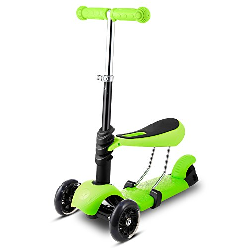 Roller Scooter mit Sitz 3-in-1 | 3 Räder Verstellbare Mini Kinderscooter Tretroller für Kleinkinder Kinder Jüngere Mädchen mit Blinkenden LED-Rollen ab 3 Jahre Grün ()