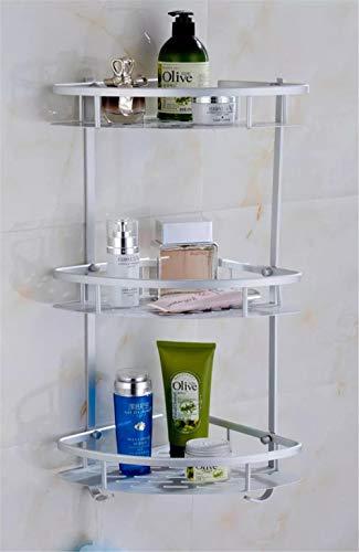 Dreischichtiges Eckregal Mit Platz Für Badezimmerzubehör Aus Aluminium Asiatisches Silber
