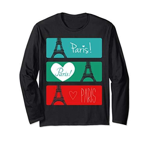 France Paris T-Shirt Eiffel Tower Souvenir Gift Langarmshirt -