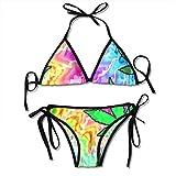 Womens Triangle Bikini Tie Dye Marijuana Weed Leaf Pattern Chic Bathing Suits
