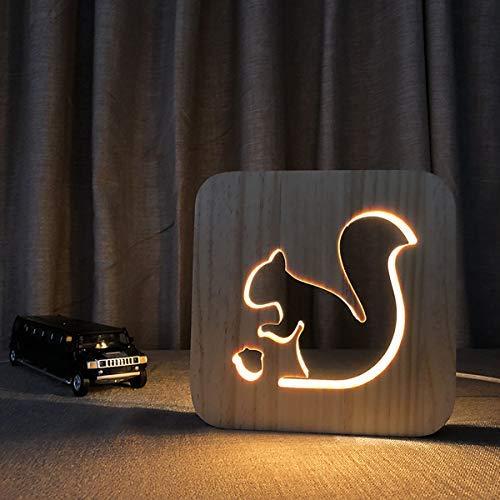 Bedoo 3D Holz LED Nachtlichter, Illusion Squirrel Lampe zum Schlafen Beleuchtung Cute Halloween Geburtstag Geschenke Creative House Schlafzimmer Erwärmung Dekorationen Ideal Handwerk