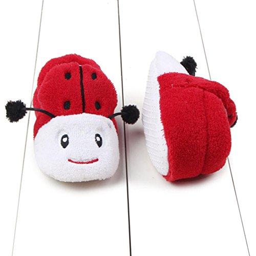 Babyschuhe Longra Baby Mädchen Jungen Kleinkind Tier-Design Krippe Schuhe Prewalker weiche Sohle Baumwolle Winterschuhe lauflernschuhe krabbelschuhe (0 ~ 8 Monate ) Red