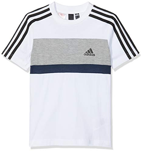 adidas Jungen Sports ID Fleece Kurzarm T-Shirt, White/Grey Heather/Collegiate Navy, 140