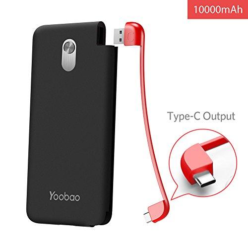 Yoobao S10K 10000mAh Portable Power Bank Externes Ladegerät mit Integriertem USB (Typ C) Kabel Kompakt für Samsung Galaxy S8, Nexus 5X, HTC 10, Huawei P9, Sony Xperia, LG G6 und mehr-Schwarz