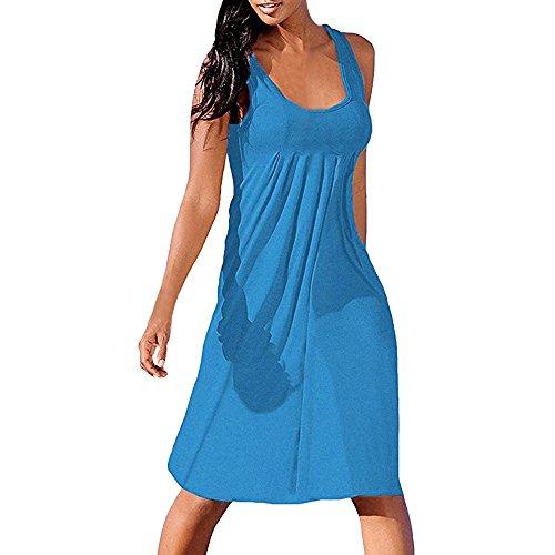 HUYURI Frauen Sommer Casual T-Shirt Kleider Strand Plain Plissee Sexy Tank Kleid