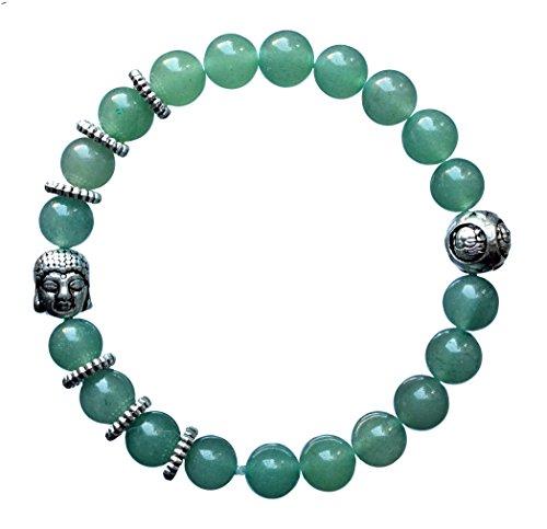 ARMBAND Aventurin mit Buddha - Heilstein Edelstein Meditation Yoga Spiritualität Astrologie Liebe (Gold Claddagh-ring Mit Opal)