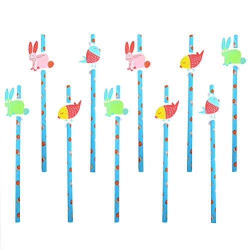 Amosfun 10 stücke Ostern Kaninchen vögel einweg Papier strohe biologisch abbaubare strohe Ostern Partei liefert gefälligkeiten (Verschiedene Muster) (Papier Strohhalme Bulk)
