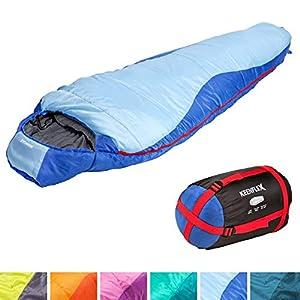 KeenFlex Schlafsack – 3 Jahreszeiten -5℃ + 15℃ – Hochentwickeltes Wärmeregulierungssystem – Mumienschlafsack Ideal für Camping, Backpacking oder Wandern