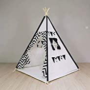 LELE Kids Foldable Teepee Tent With Padded Mat Playhouse Indian Style - 4 Wooden Poles Canvas With Bottom Mat,