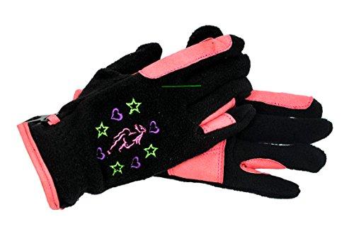 Riders Trend Fleece-Reithandschuhe für Mädchen schwarz nero - Black/Pink L
