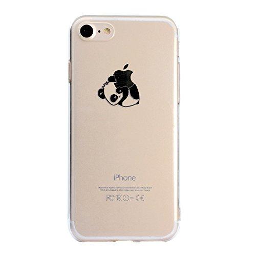 Custodia per iPhone 7, per iPhone 8 Cover, ZCRO Custodia in Silicone Trasparente TPU Colorata Modello Ultra Slim Disegno Case Gomma Morbida Antigraffio Bumper Caso Cover Protezione con Penna Stilo per Cute Panda