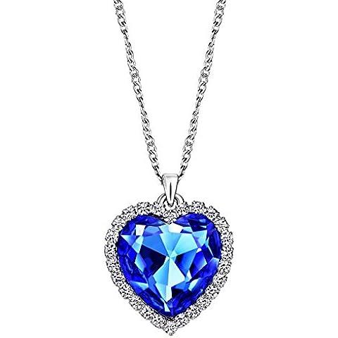 NEOGLORY Collar Corazón del Mar con Cristal Azul Joya Original Mujer