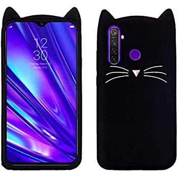 mobcruz Oppo Realme 5 Back Covers for Girls 3D Mustache Cat Ears Meow Back Case Cover for Oppo Realme 5