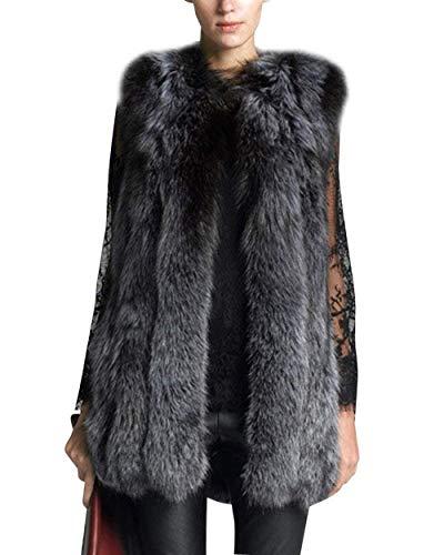 Biran cappotto di pelliccia donna invernali fashion vintage pelliccia sintetica eleganti gilet addensare caldo vita alta grazioso smanicato gilet di pelliccia giacca pelliccia giaccone