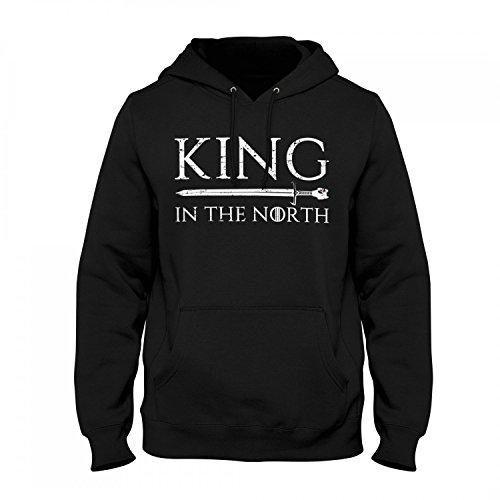 Fashionalarm Herren Kapuzen Pullover - King In The North | Fan Hoodie mit Spruch als Geschenk Idee zur GoT Serie Snow König Norden, Farbe:schwarz;Größe:5XL (Hoody König)