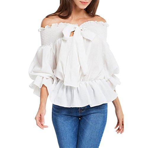 iHENGH T-Shirt Damen Sommer Solide Volant Fliege Cold Shoulder Party Tops Bluse