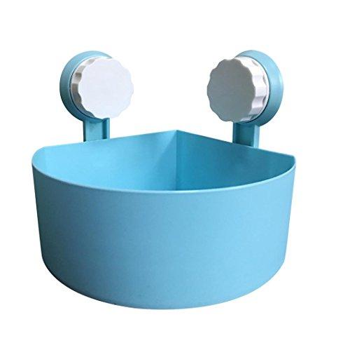 Gaddrt Plastik Saugnapf Badezimme Küche Eck Speicher Zahnstange Organisator Dusche Regal Haken zum Einhängen Badregal Bad Utensilo(blau)