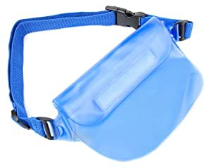 DURAGADGET Blue Water Resistant Pouch with Adjustable Strap - Compatible with Veho VCC-005-MUVI-HDNPNG Mini Handsfree ActionCam, Veho VCC-005-MUVI-NPNG MUVI HD Mini Handsfree ActionCam with Waterproof Case and 8 GB Memory - No Proof No Glory Edition & Veho VCC-004-ATOM-NPNG Super Micro Muvi Atom Handsfree Camcorder with Waterproof Case and 4 GB Memory