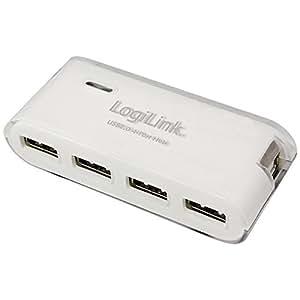LogiLink 4-Port Hub USB 2.0 mit Netzteil, weiß