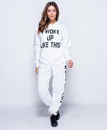 Mesdames Je Me suis Réveillé Comme Ceci Printed Joggers EUR Taille 36-42 Blanc
