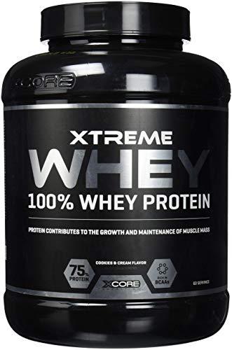 Xcore Xtreme 100% Whey Protein Powder 2kg - Aumenta el Crecimiento y el mantenimiento de la masa muscular- Suplemento Vegetariano con BCAA, Glutamina y Vitaminas - Sabor a Galletas Y Crema - 60 Dosis