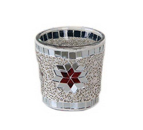 Argent mosaïque en verre Porte bougie Photophore au sol