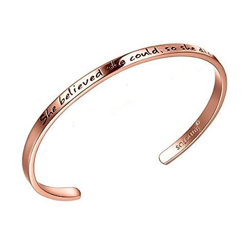 "SOLOCUTE Bracelet Femme Gravé ""She believed she could So she did"" Inspiration Manchette Bijoux Or Rose"