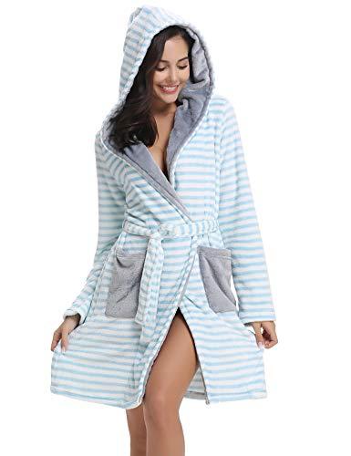 Aibrou Damen Fleece Bademantel mit Kapuze Lang Winter Warm Weich Micro-Polar Fleece Morgenmantel Saunamantel Flauschig mit Tasche (Fleece-Blau, X-Large) Micropolar-fleece
