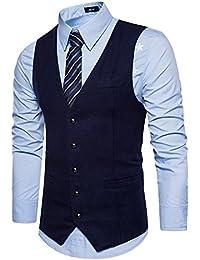 Leisure Hombre chaleco de traje blazers waistcoat sin manga botones de fila sola formal Boda Ceremonia