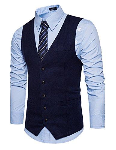 Leisure Hombre chaleco de traje blazers waistcoat sin manga botones de fila sola formal Boda Ceremonia,Azul 1,S