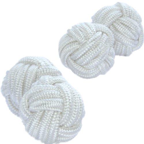 Paralume in seta-Gemelli con nodo, polsini & Co Bianco puro
