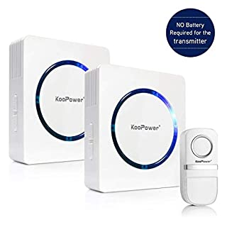 [Self-Generating Power] Wireless Doorbell, 1 Push Button (No Battery Required) and 2 Plug-in Receivers, 25 Melodies IP44 Waterproof Door Entry Bell, White