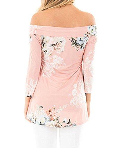 Freestyle Donna Manica 3/4 Casual Stampa Fiore T-shirt Elegante Blusa blouse Maglietta Manica Tunica Camicia Scollo a Barca Tops Rosa