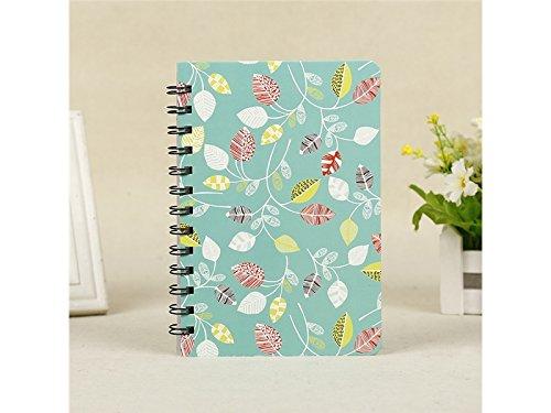 Geeignet für Weihnachten Kreativer Tagebuch-Notizbuch-Notizblock verlässt Muster-Zeitschriften-Notizbuch für Büro-Reise (Grün)