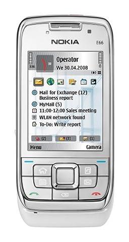 Nokia E66 white steel (UMTS, WLAN, A-GPS, 3,2 MP, Ovi Karten) Smartphone