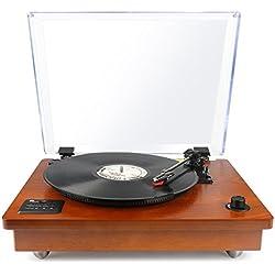 1byone Tocadiscos estéreo portátil con altavoces integrados, compatible con salida RCA / Toma de auriculares / MP3 / la reproducción de música de teléfonos móviles,Madera natural