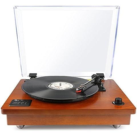 1byone Tocadiscos estéreo portátil con altavoces integrados, compatible con salida RCA / Toma de auriculares / MP3 / la reproducción de música de teléfonos móviles,Madera